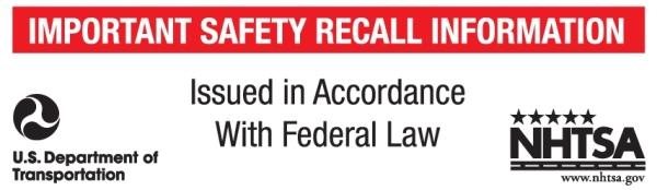 NHTSA Recall Label